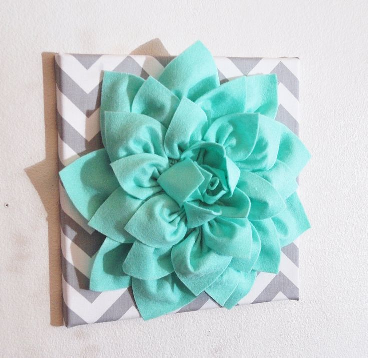 Large Mint Green Flower Wall Hanging -Flower Wall Decor- Chevron Home Decor  - colors.