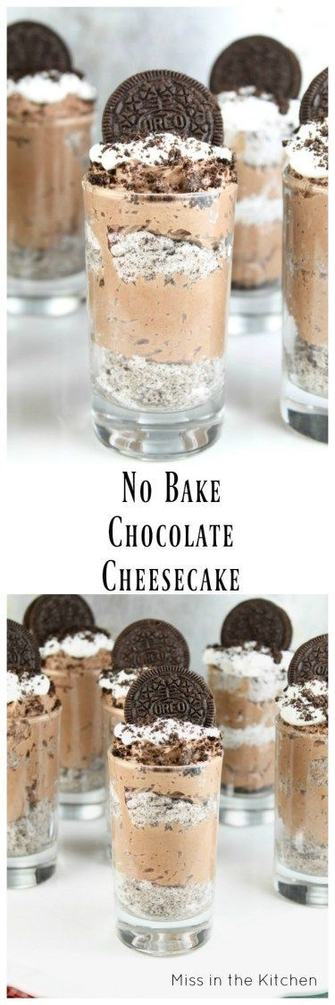 No Bake Chocolate Cheesecake layered with cookies and cream for a delightful dessert that is perfect any night of the week! From MissintheKitchen.com