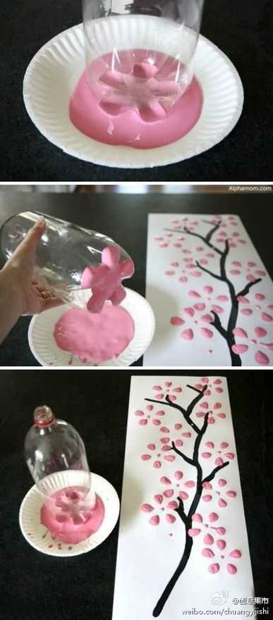 Using the bottom of a plastic bottle to make flower stencils onto a canvas