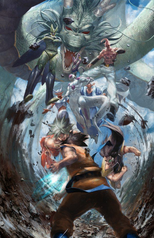 Goku vs Raditz, Broly, Frieza, Perfect Cell, Super Buu, Janemba, Dabura, and Lord Beerus with Shenron the Dragon