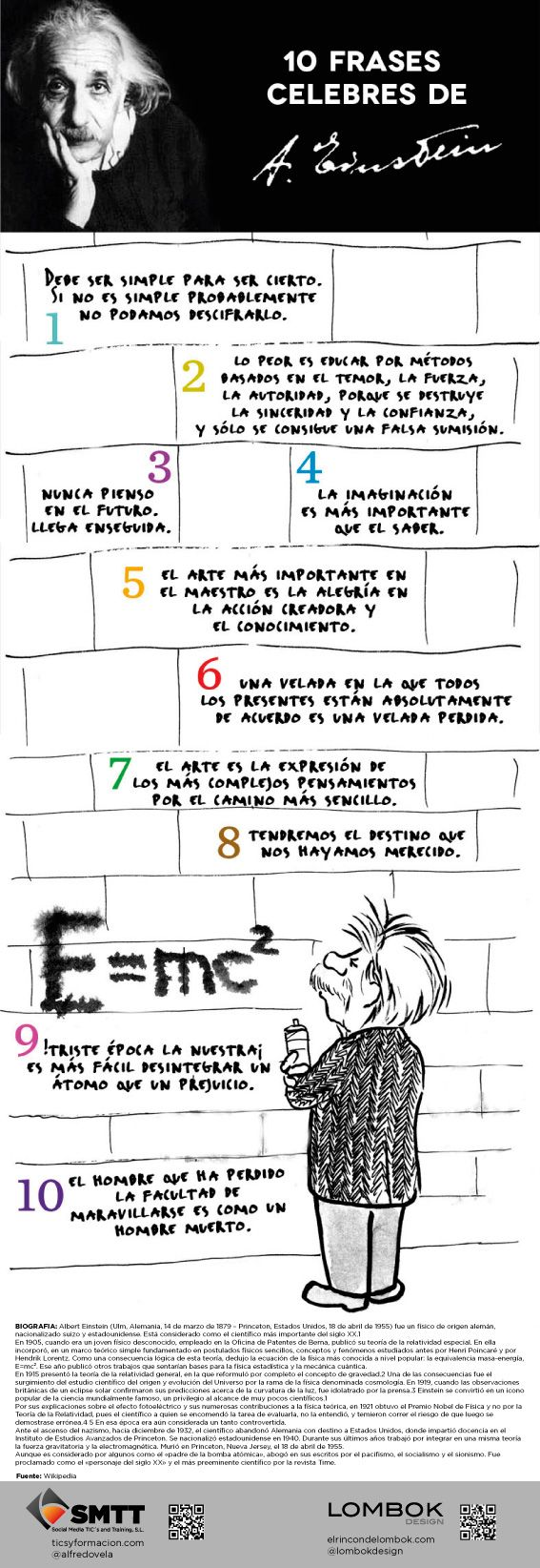 #Spanish quotes #citas #frases celebres #Quotes in Spanish - 10 frases célebres de Einstein #infografia #infographic