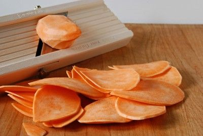Sweet potato chips baked in the oven... had some today at a restaurant and they were unbelievably good.