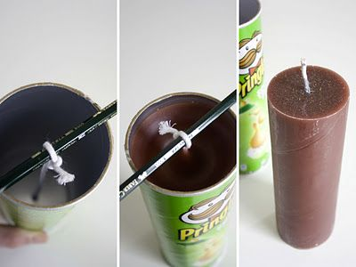 Make a big candle with a pringles  tube!