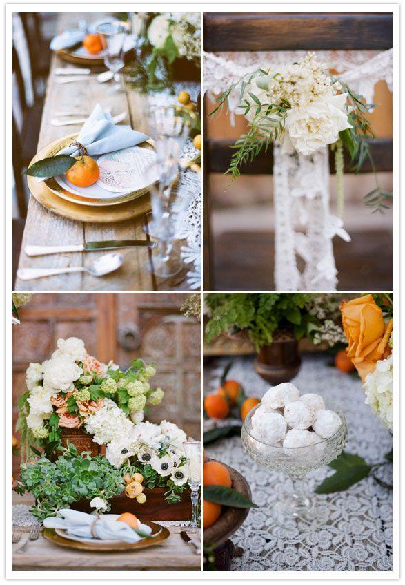 korakia wedding inspiration - oranges on table & succulent flower boxes