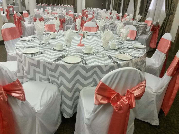 Grey chevron table cloths with coral accents