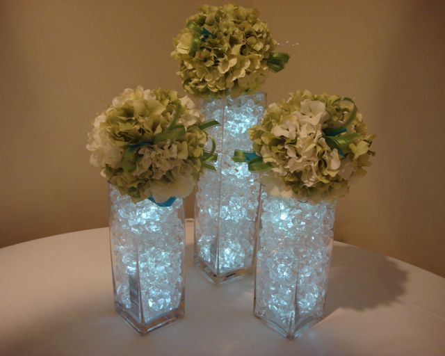 Tall Square Vase Trio With Acrylic Piece Vase Filler Topped With 6 Quot Green Hydrangea