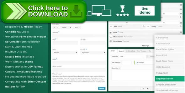 [ThemeForest]Free nulled download Ether Forms Builder WordPress Plugin from http://zippyfile.download/f.php?id=42897 Tags: ecommerce, columns, conditional logic, contact form, content builder, drag and drop, form builder, form generator, serverside validation, visual composer, visual form generator, wordpress forms