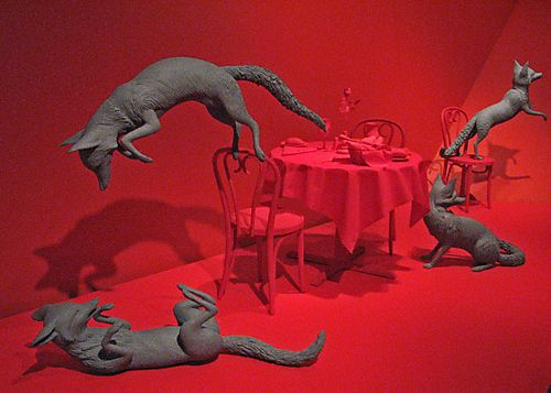 One scene from Fox Games by Sandy Skoglund, Mixed Media '89