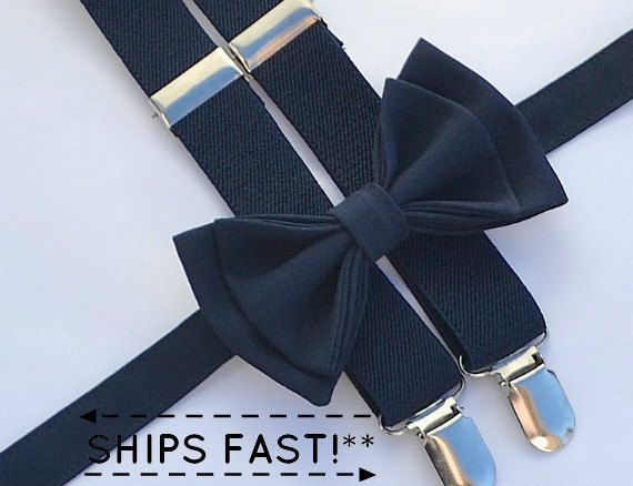 Navy Bow Tie & Navy Suspenders Ring Bearer Outfit by armoniia