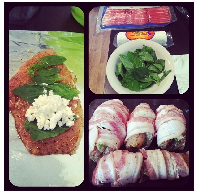 Bacon wrapped chicken, Wrapped chicken and Basil leaves on Pinterest