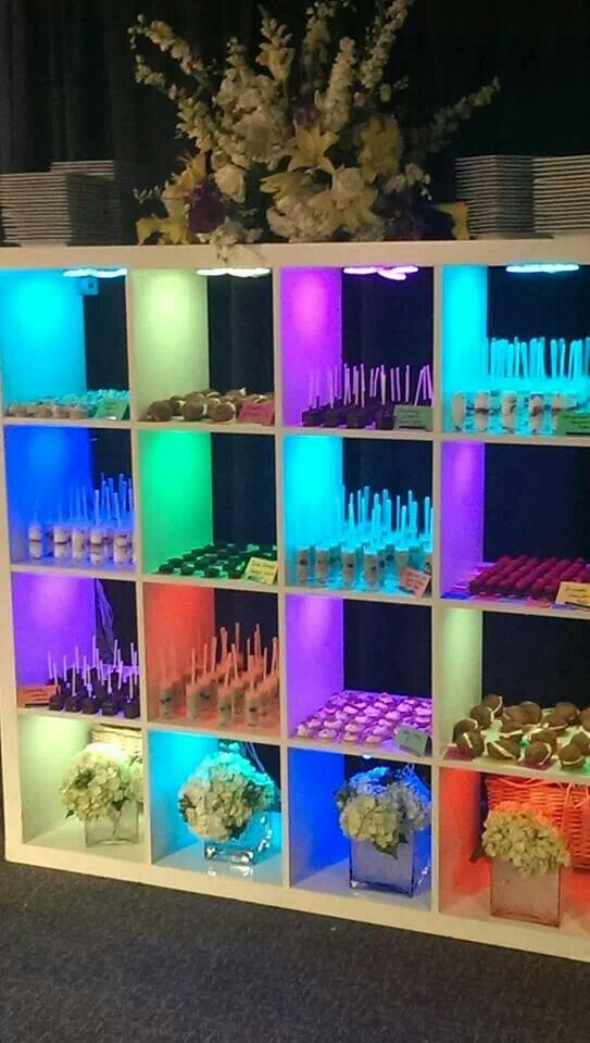 Square uplighting dessert station, by Elite Catering of Dayton, Ohio