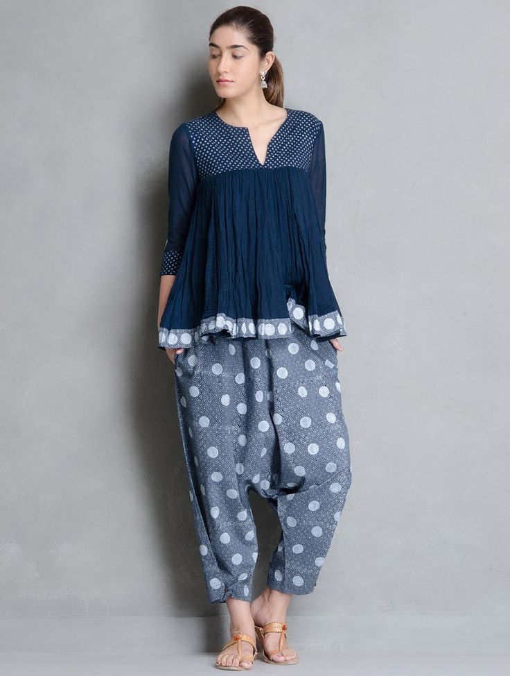 Indigo-White Block Printed Cotton Crotch Crop Pants