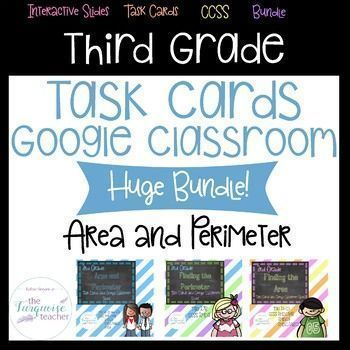 Area and Perimeter Task Card BUNDLE: This new bundle has task cards that focus on area and perimeter!   Each set comes with 20 rigorous task cards, recording sheet, and answer document. In addition to the PDF to print as traditional task cards, I have inc