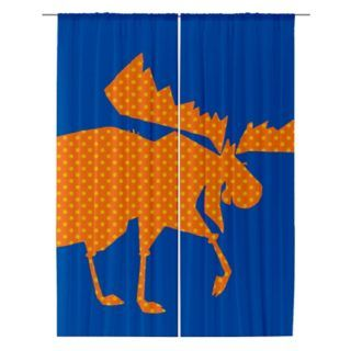 Golden Moose orange dot sheer curtain by sparkheadkids.com
