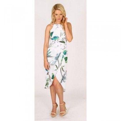 3RD LOVE Waterfall Of Leaves Drape Dress