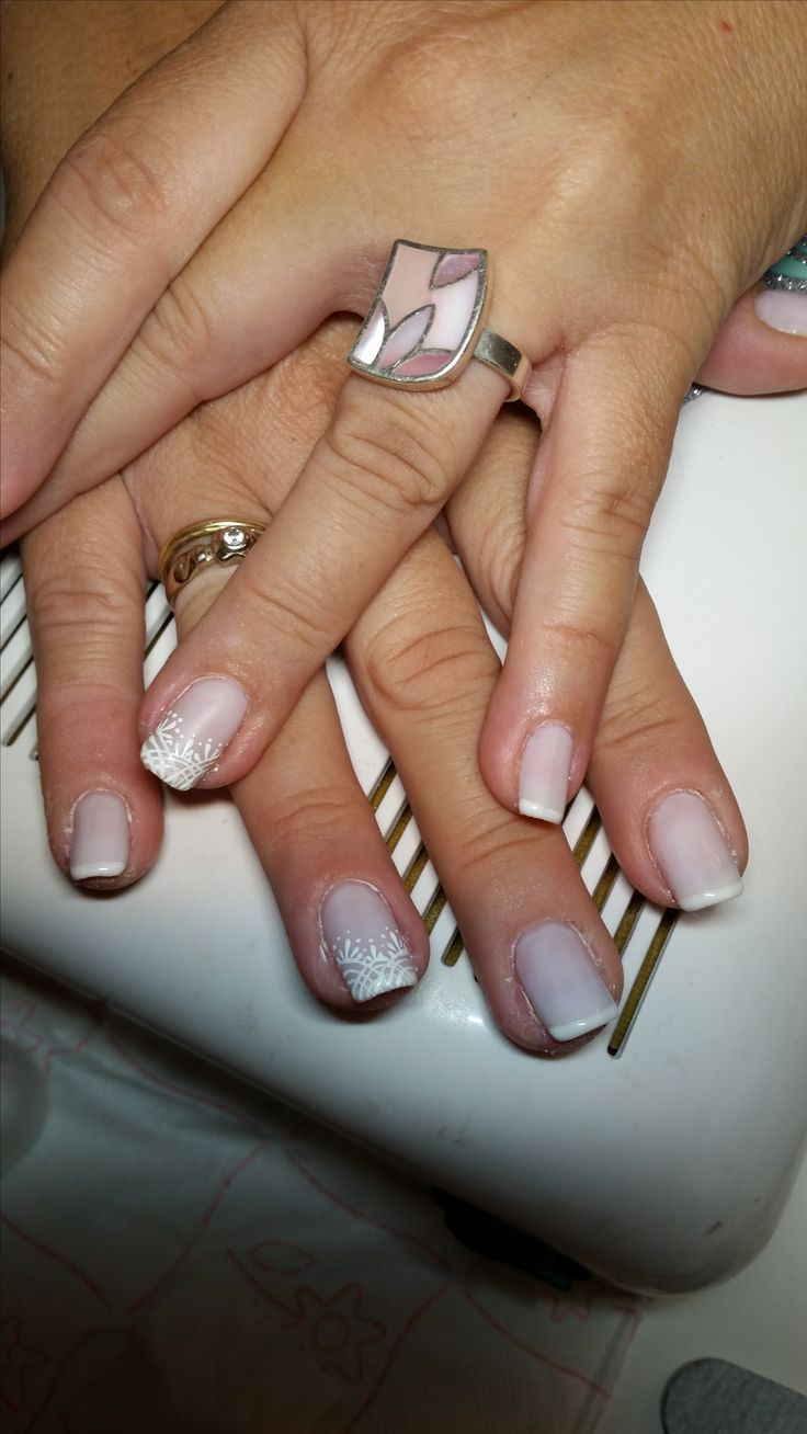 3d lace on french manicure