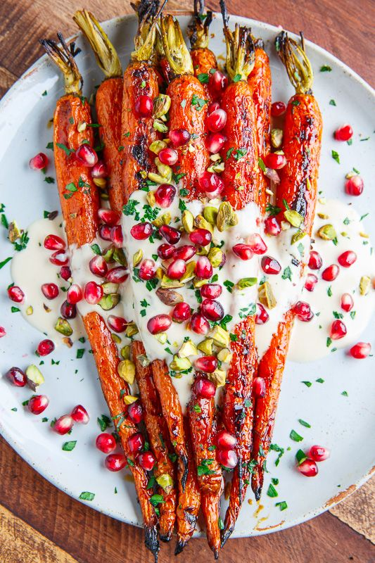 Maple Roasted Carrots in Tahini Sauce (if minus Seseame) with Pomegranate and Pistachios