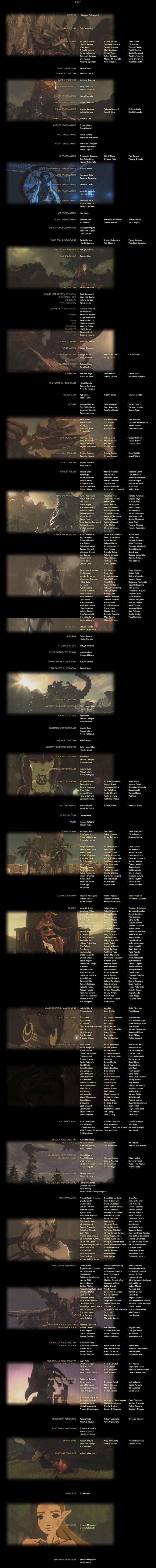 The Legend of Zelda: Breath of the Wild was released 2 months ago. Hundreds of people worked to create the game. Here are their names. To all of you thank you (1280x12900)