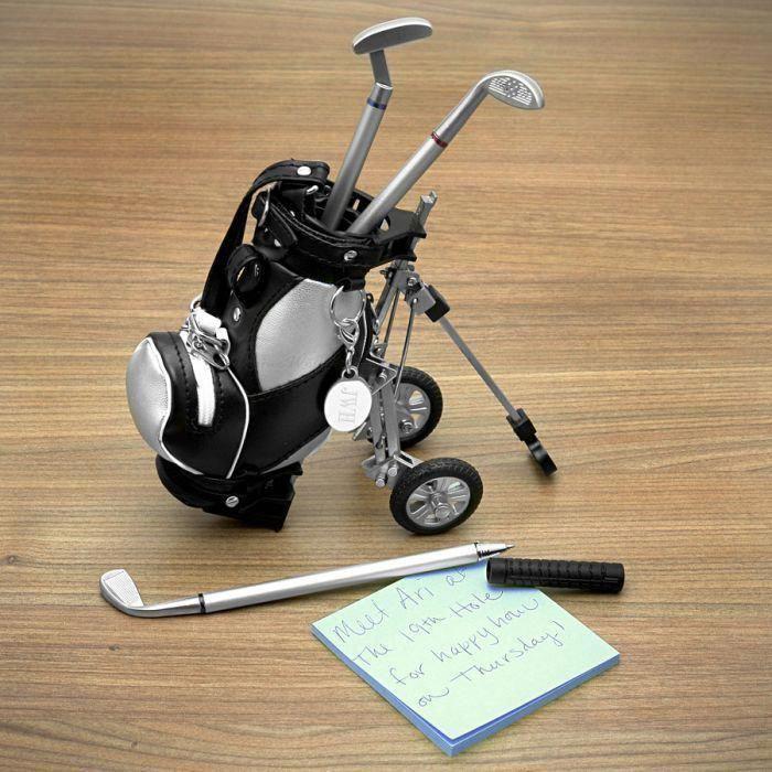 Golf Pens With Golf Bag Holder 4 Piece Set Engravable In 2021 Golf Bags Golf Gifts Golf Gifts For Men