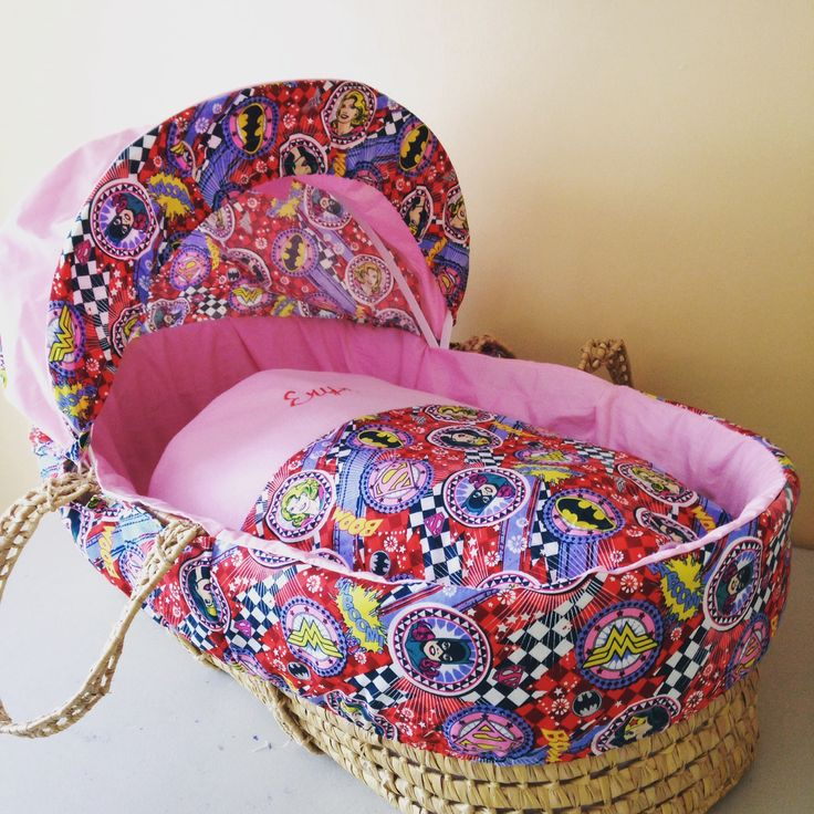 Girls DC comic book Moses basket covers set.