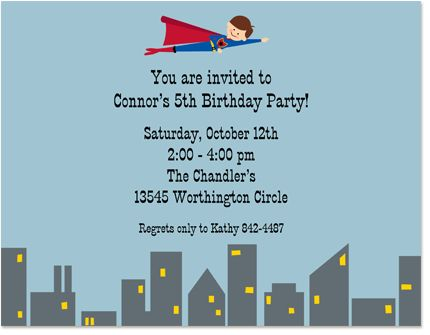 Superhero Boy Birthday Invitations