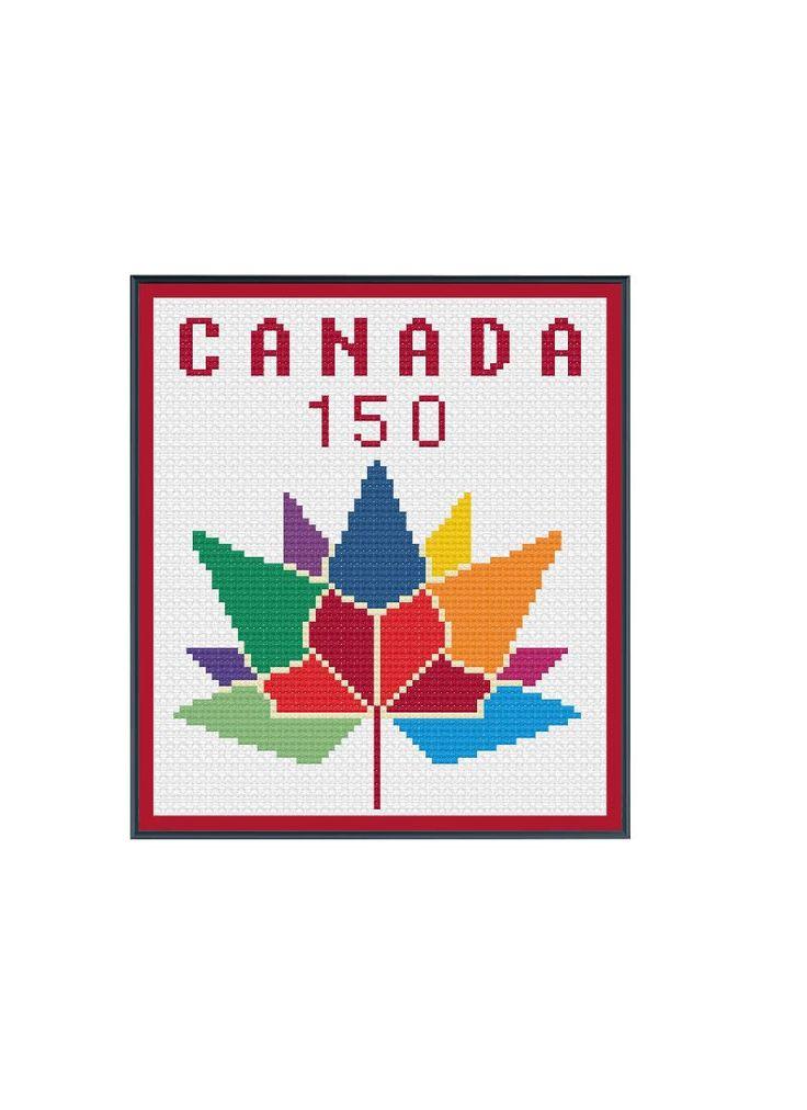Canada 150 Logo Small by StitcherzStudio on Etsy