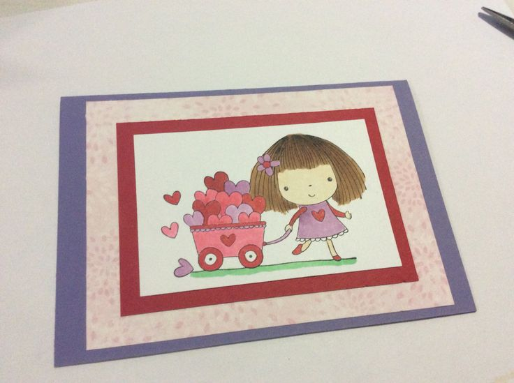Cute girl's birthday card  Penny Black stamp - Brimming with love