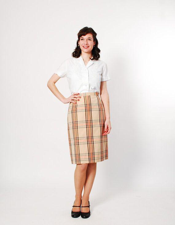 vintage 1960s skirt 60s pencil skirt preppy plaid