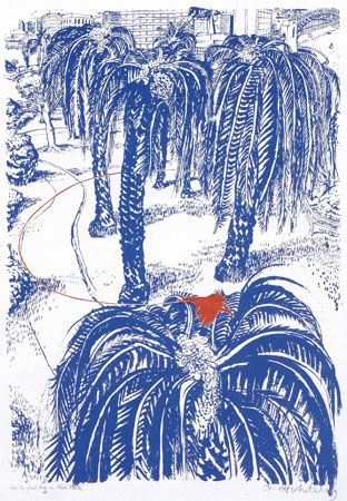 Brett Whiteley - (The Orange) Fruit Dove in Clark Park in 1980. Screen print