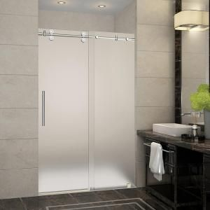 Aston Langham 44 in. to 48 in. x 75 in. Completely Frameless Sliding Shower Door with Frosted Glass in Brushed Stainless Steel-SDR978F-SS-48-10 - The Home Depot