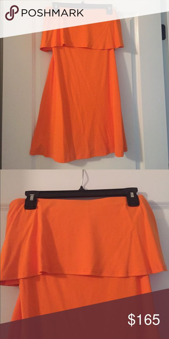 PRICE DROP!! Never-worn Susana Monaco mini orange Never worn, Susana Monaco size S orange mini dress, great for casual wear or over a bathing suit, stretchy material Susana Monaco Dresses Mini