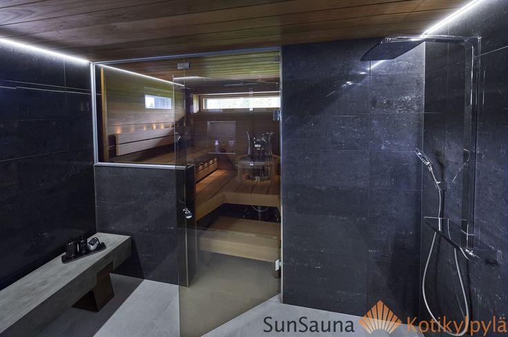 Sun Sauna class wall, Seinäjoen Asuntomessut, Pesuhuoneen penkki, Sadesuihku