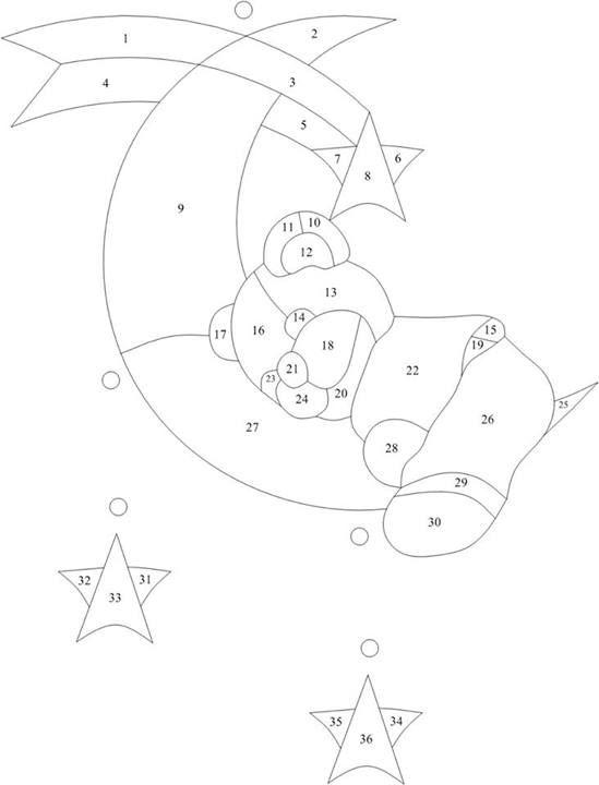 Sleepy teddy on the moon pattern by Manon Cayer