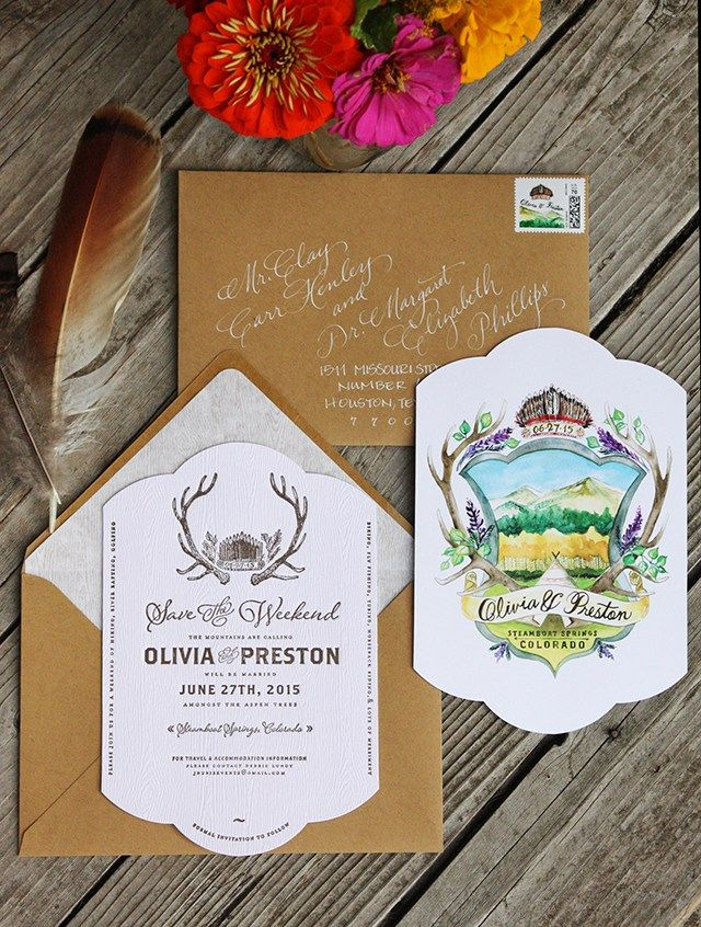 Rustic Watercolor Colorado Wedding Invitations