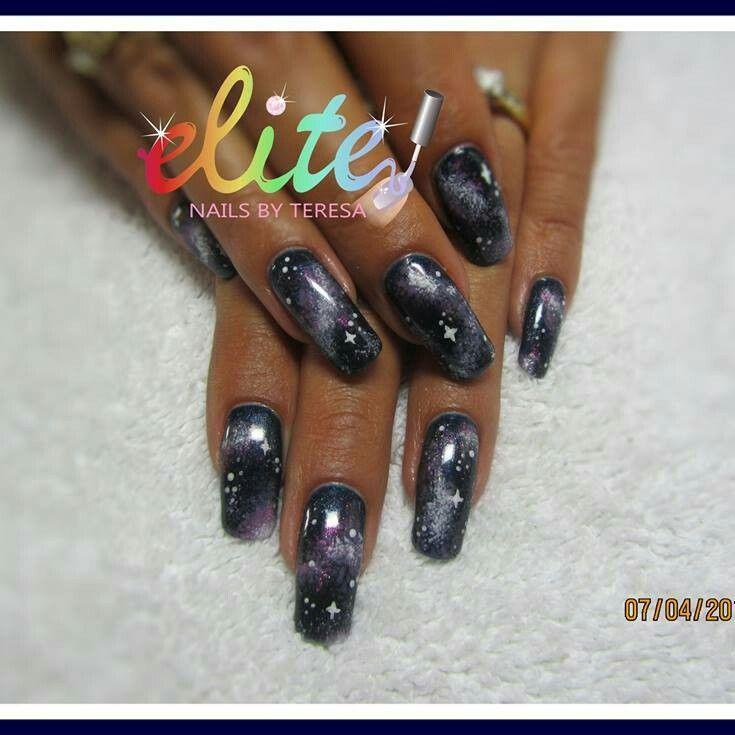 Galaxy nails CND Shellac hand painted