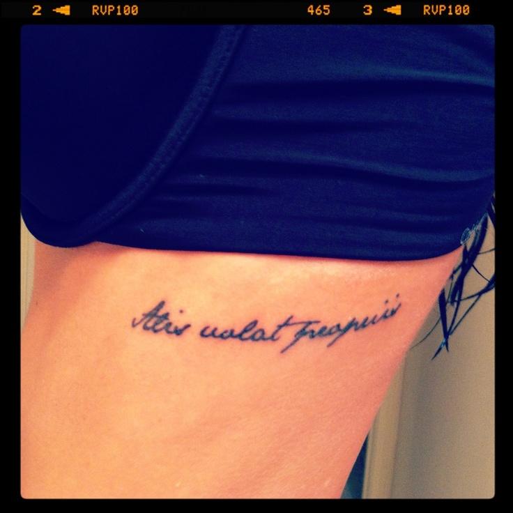Alis volat propriis rib tattoo