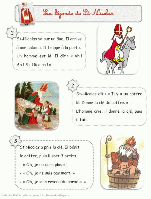 Une fiche de lecture pour le CP sur le thème de Saint-Nicolas.