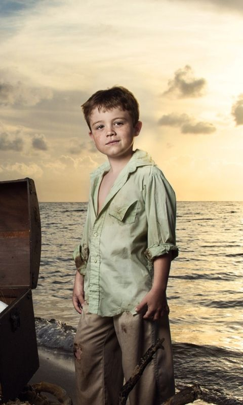 480x800 Wallpaper sea, beach, kids, chest, child, sunset