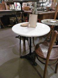 Table bistrot marbre d.60cm deco authentique - Mobilier ancien