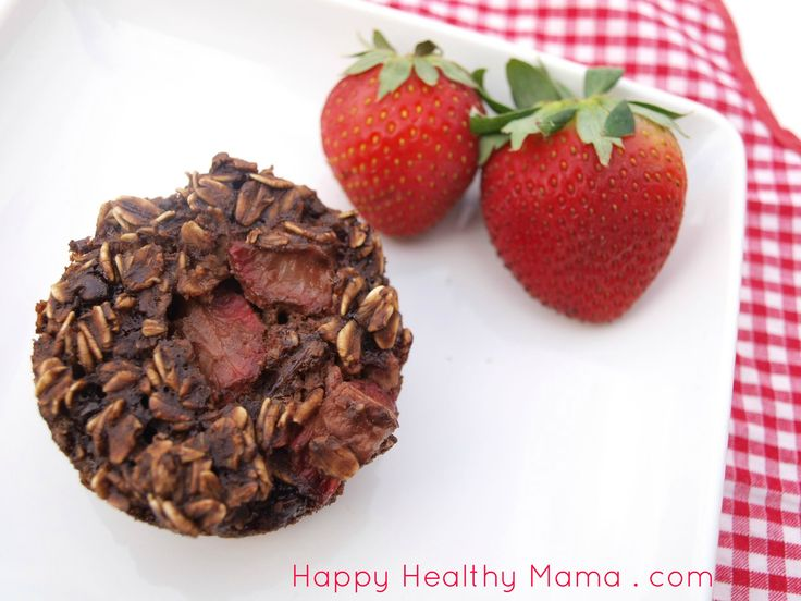 Double chocolate strawberry baked oatmeal cups. Baked oatmeal in a portable, muffin form! Super easy, healthy recipe that tastes so decadent!