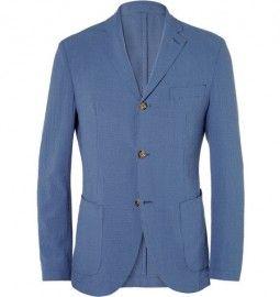 Montedoro Slim-fit Lightweight Wool And Silk-blend Seersucker Blazer