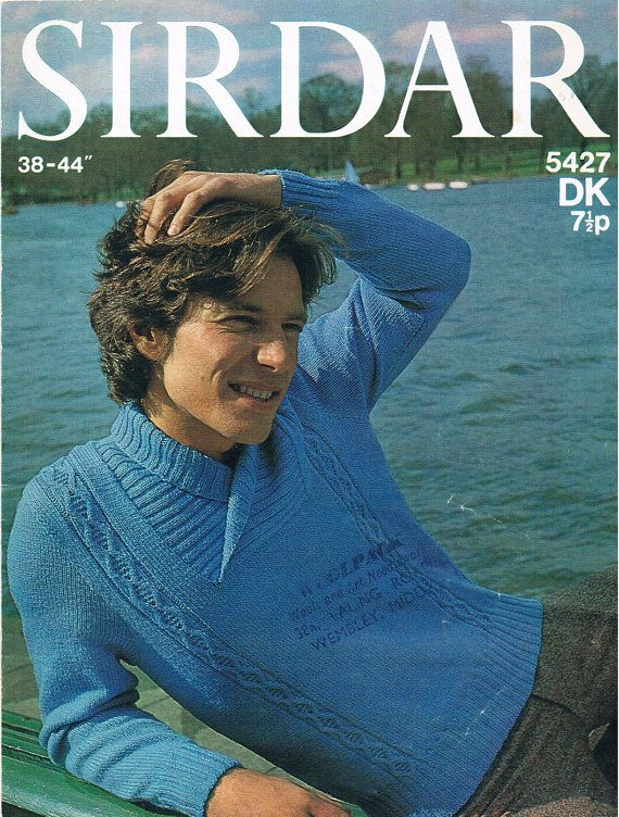 PDF Vintage Knitting Pattern 1980s Sirdar Mens Shawl Collar Jumper by TheApplesauceShop, £1.50