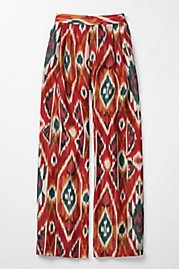 """Anthropologie has a lot of cute things on its site - but IMHO this isn't one of them - a tie-dyed or Persian carpet-inspired horror come to life on what we used to call """"palazzo pants"""" in the late 70s - early 80s. Ugly then - ugly now!"""
