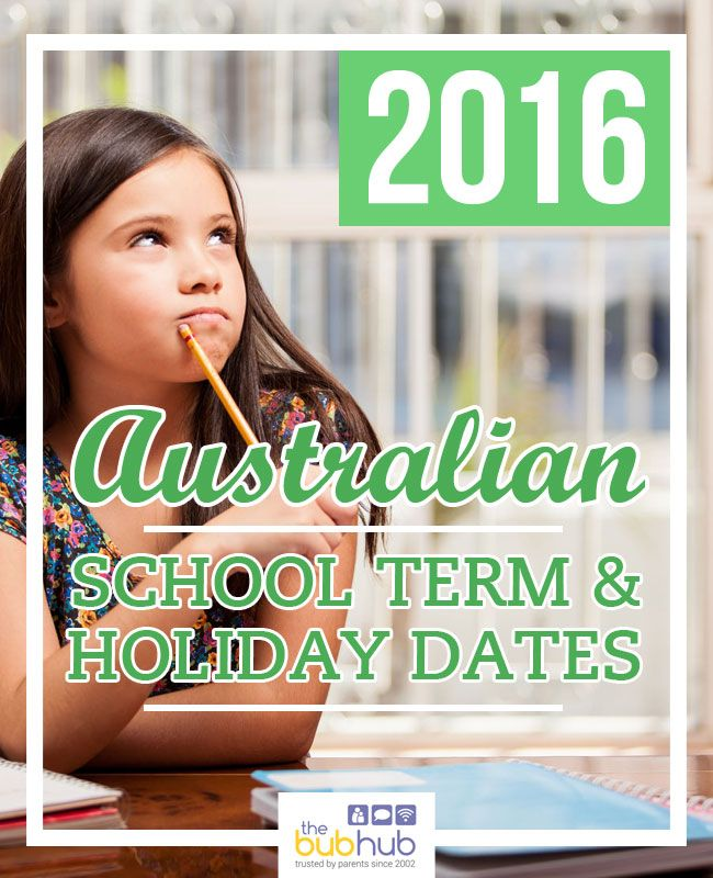 This is a handy list of all school holiday dates and term dates for each Australian state and territory for 2016.  #schoolterm #backtoschool #schoolholidays