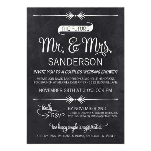 Chalkboard Couples Wedding Shower Card Chalkboards