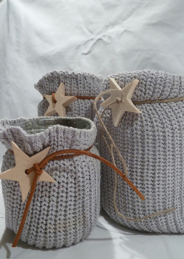Recycled crochet latern glass jars- Luminaries - gray candle holder. $35.00, via Etsy.