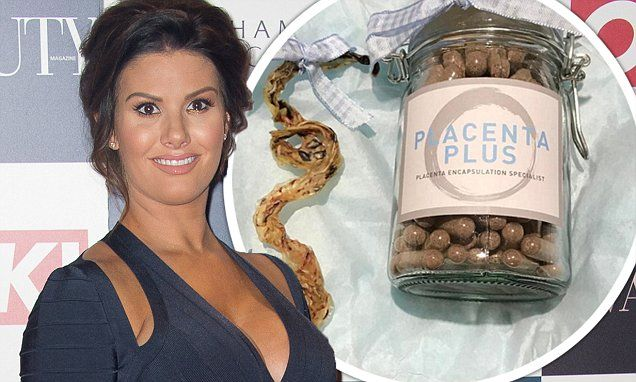 Rebekah Vardy, 34, revealed she eats her own placenta as she shared a picture of a bottle of placenta pills, alongside her dried-up organ on Instagram on Thursday