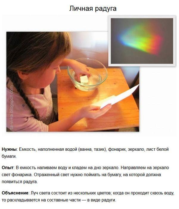 Эксперименты для детей. Личная радуга.
