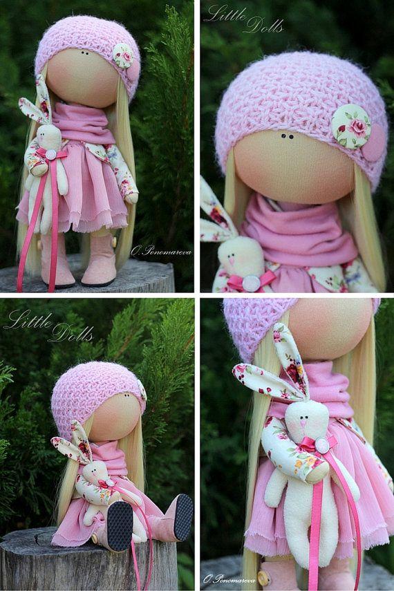 Tela muñeca hecha a mano linda muñeca por AnnKirillartPlace en Etsy