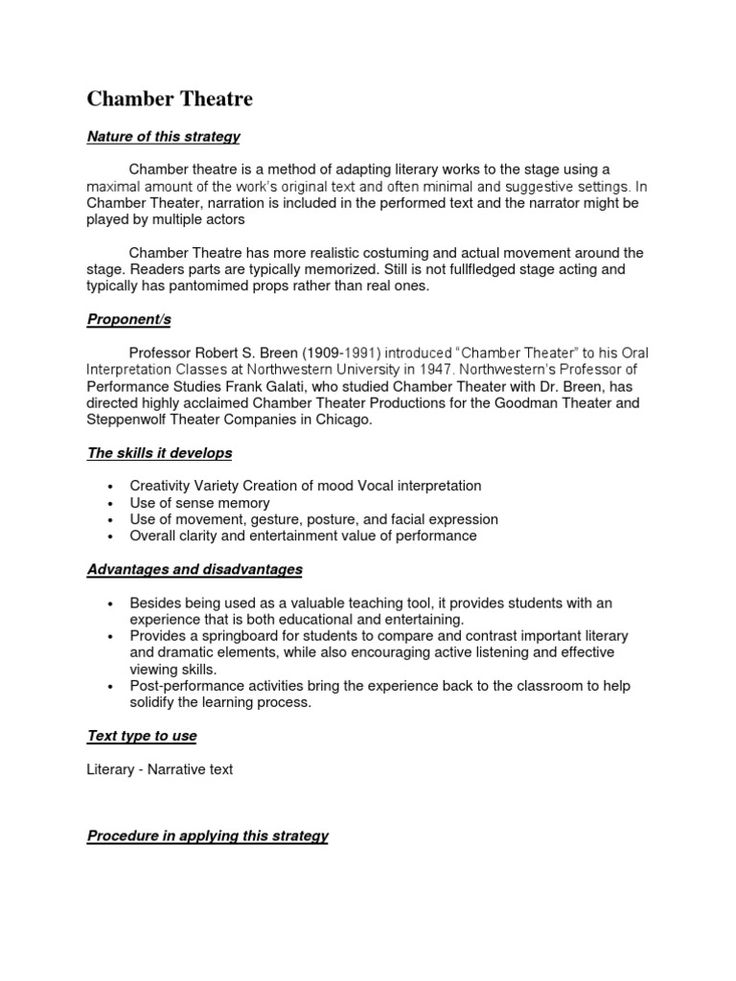 Chamber Theatre Word doc, Read online for free, Words